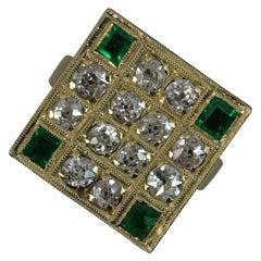 Antique 18 Carat Gold 1.2 Carat Old Cut Diamond Emerald Square Panel Ring