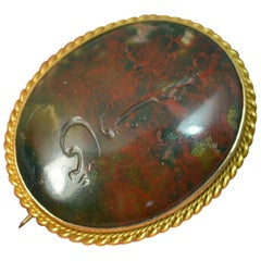 Antique 18 Carat Gold and Bloodstone Intaglio Brooch