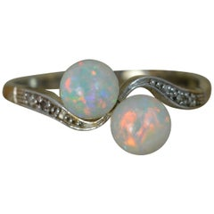 Antique 18 Carat Gold and Platinum Opal Ball Toi et Moi Ring with Diamonds