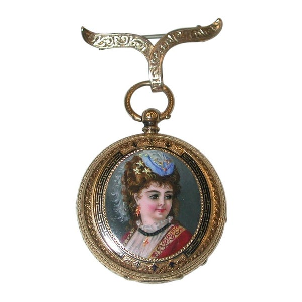 Antique 18 Carat Ladies Enamelled Watch with 9 Carat Pinned Bow, circa 1890