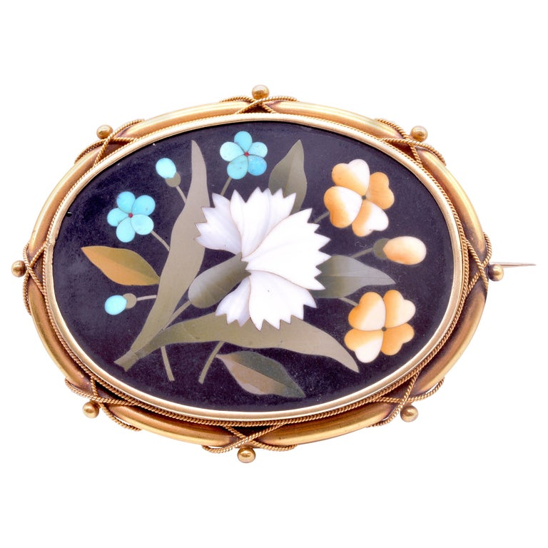 Antique 18 Carat Pietra-Dura Oval Flower Brooch with Intricate 18K Frame, c1860 For Sale