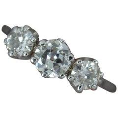 Antique 18 Carat White Gold 1.00 Carat Old Cut Diamond Trilogy Ring