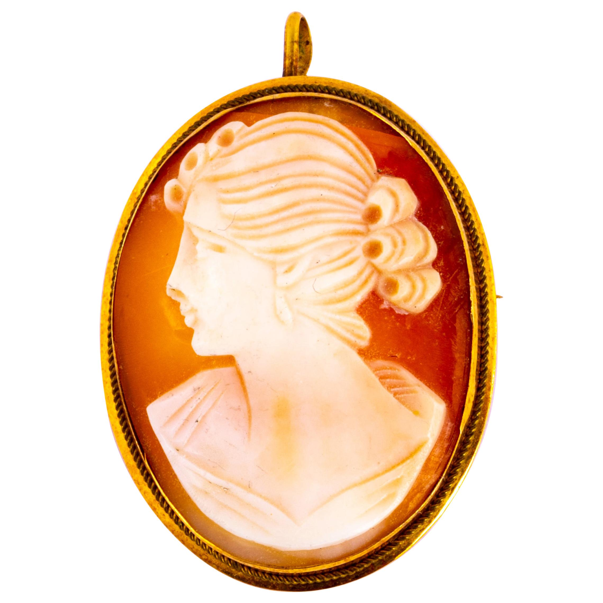 Antique 18 Carat Yellow Gold Cameo Brooch