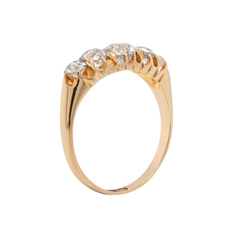Old Mine Cut Antique 18 Carat Yellow Gold Five-Stone Old Cut Ring, 1894 For Sale