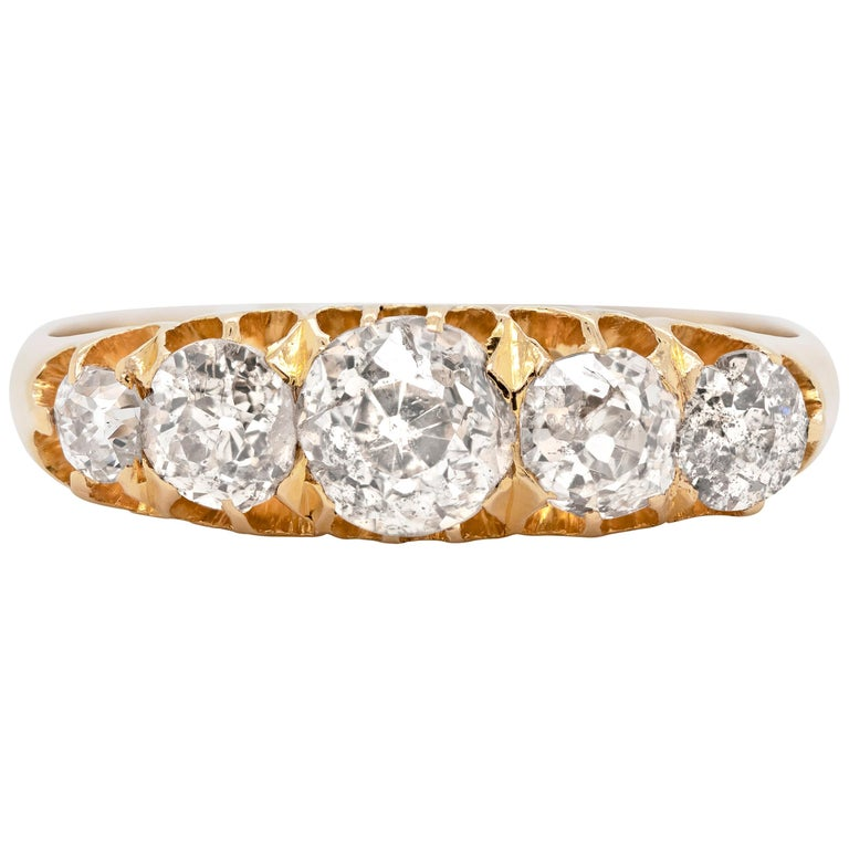 Antique 18 Carat Yellow Gold Five-Stone Old Cut Ring, 1894 For Sale