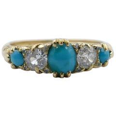 Antique 18 Carat Yellow Gold Turquoise and Diamond Half Hoop Ring, circa 1900