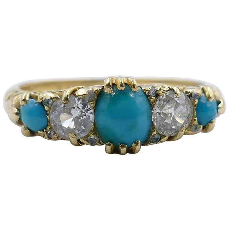 Antique 18 Carat Yellow Gold Turquoise and Diamond Half Hoop Ring, circa 1900 For Sale