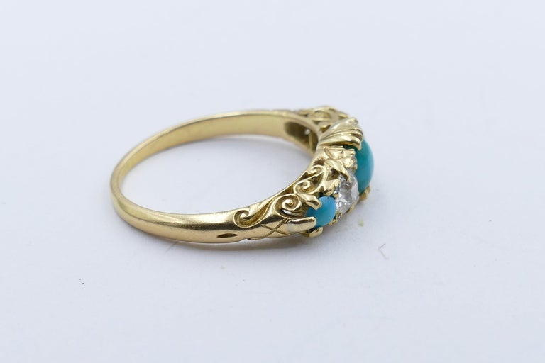 Victorian Antique 18 Carat Yellow Gold Turquoise and Diamond Half Hoop Ring, circa 1900 For Sale