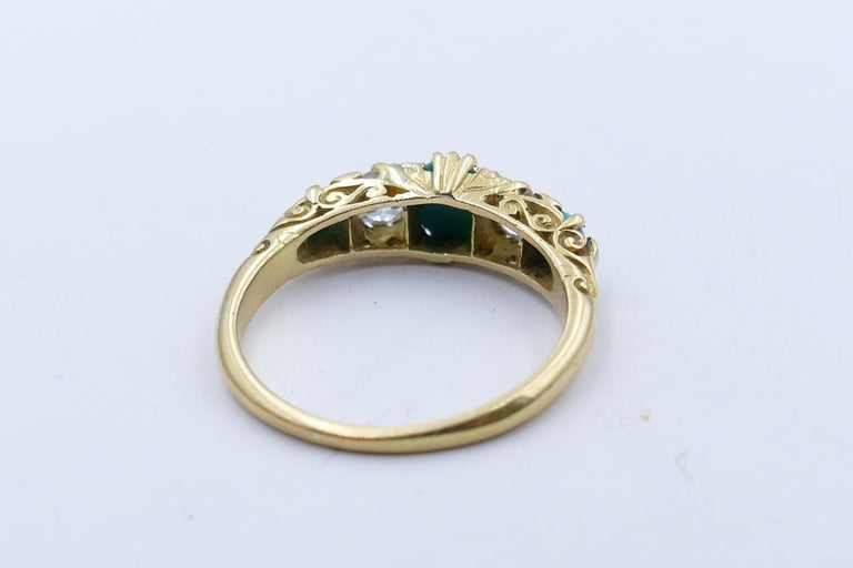 Mixed Cut Antique 18 Carat Yellow Gold Turquoise and Diamond Half Hoop Ring, circa 1900 For Sale