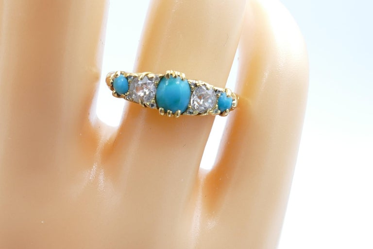 Antique 18 Carat Yellow Gold Turquoise and Diamond Half Hoop Ring, circa 1900 In Excellent Condition For Sale In Splitter's Creek, NSW