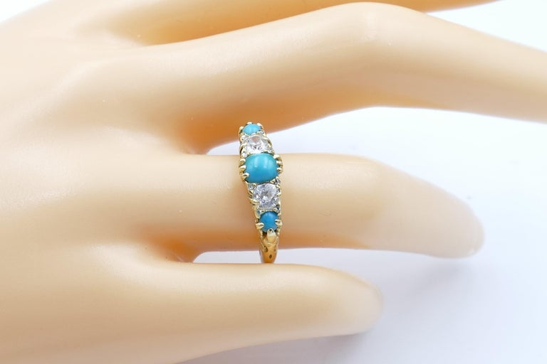 Women's or Men's Antique 18 Carat Yellow Gold Turquoise and Diamond Half Hoop Ring, circa 1900 For Sale