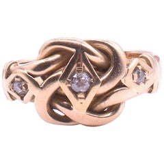 Antique 18 Karat and Diamond Lover's Knot Ring HM Chester, 1909