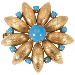Antique 18 Karat and Turquoise Brooch, 1940s