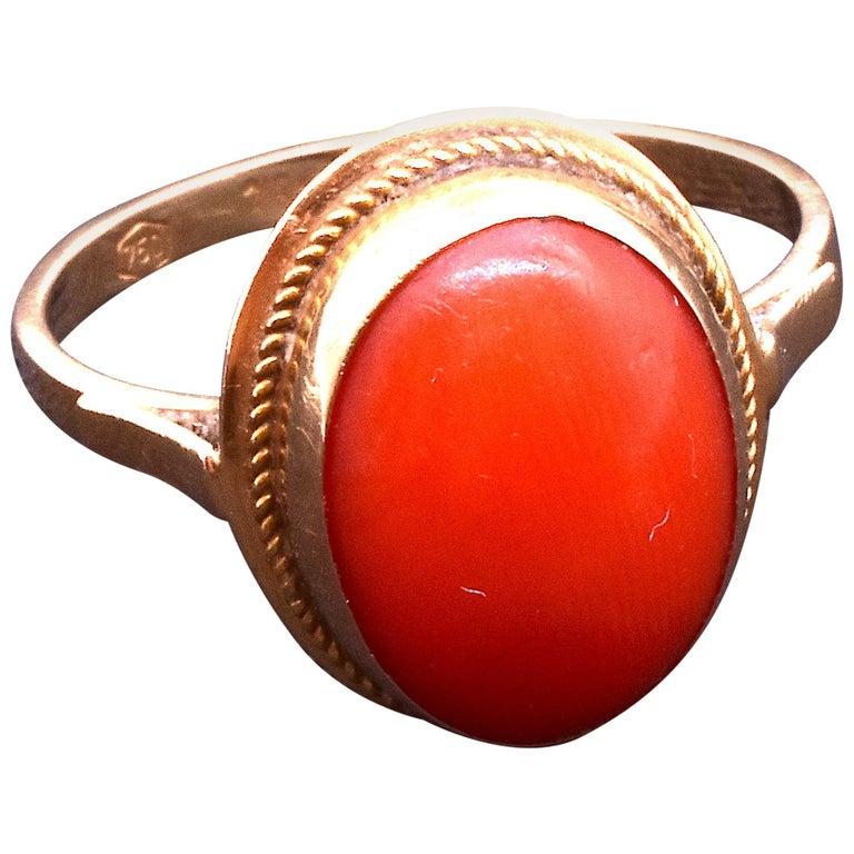 Antique 18 Karat Coral Ring, circa 1880 For Sale