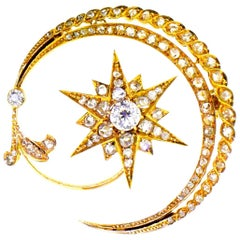 Antique 18 Karat En Tremblant Diamond New Moon and Star Brooch, circa 1850