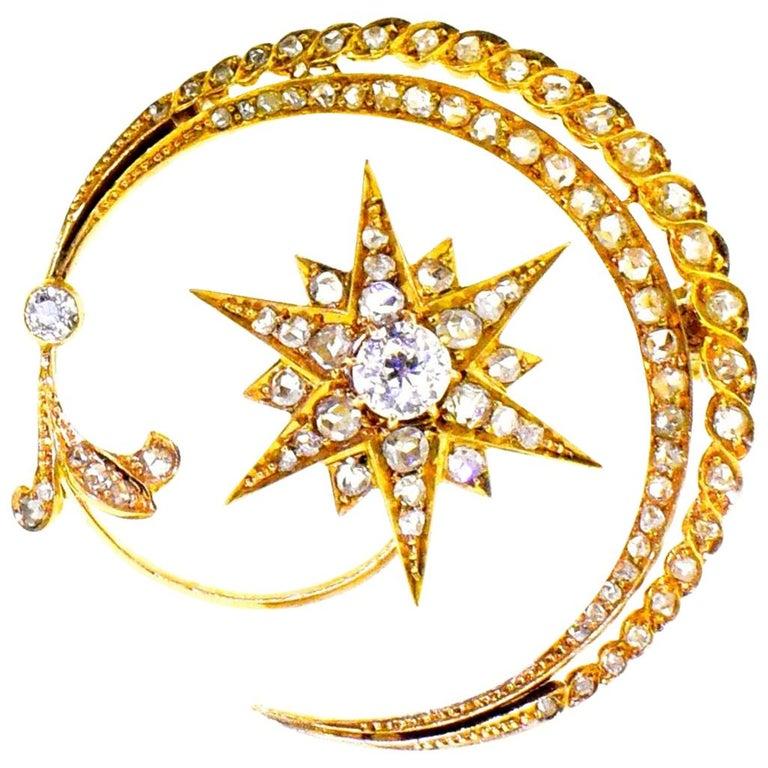 Antique 18 Karat En Tremblant Diamond New Moon and Star Brooch, circa 1850 For Sale