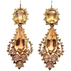 Antique 18 Karat Georgian Topaz and Diamond Pendant Earrings