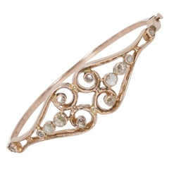 Antique 18 Karat Gold and Diamond Bangle Bracelet, Early 1900