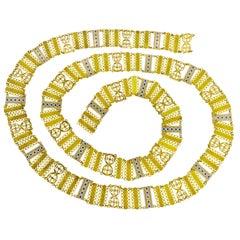 Antique 18 Karat Gold and Enamel Long Chain, circa 1850