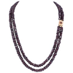 Antique 18 Karat Gold and Garnet Double Strand Necklace, Early 20th Century