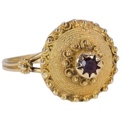 Antique 18 Karat Gold and Garnet Ring, Early 20th Century