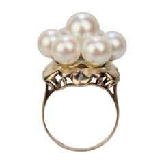 Antique 18 Karat Gold and Pearl Cluster Midcentury Cocktail Ring