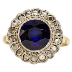 Antique 18 Karat Gold and Platinum Art Deco Sapphire and Diamonds Ring
