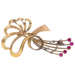 Antique 18 Karat Gold and Ruby Brooch, 1940s