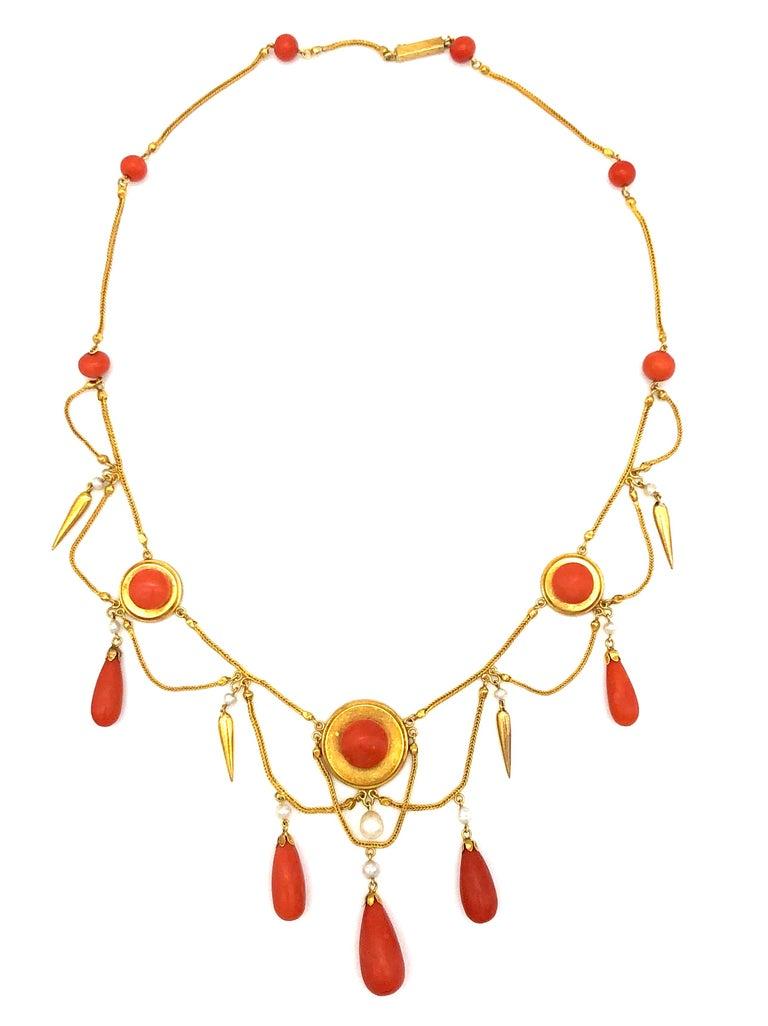 Etruscan Revival Antique 18 Karat Gold Archeological Revival Coral Orient Pearl Necklace France For Sale