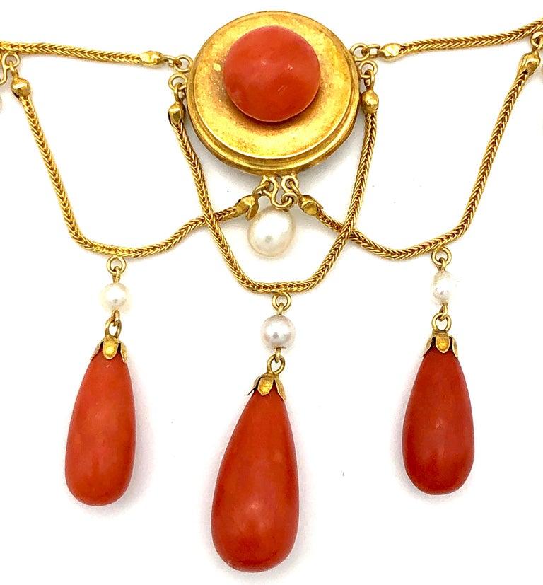 Women's or Men's Antique 18 Karat Gold Archeological Revival Coral Orient Pearl Necklace France For Sale
