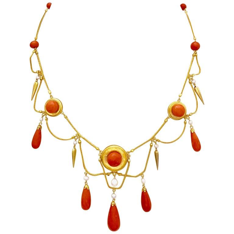 Antique 18 Karat Gold Archeological Revival Coral Orient Pearl Necklace France For Sale