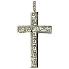 Antique 18 Karat Gold Cross Pendant with Old Cut Diamonds, 1920s