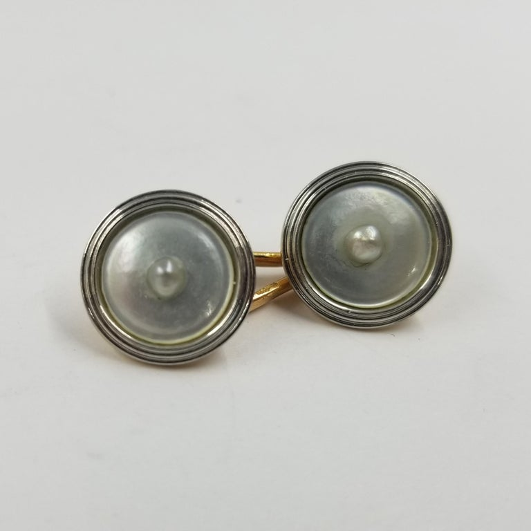 Men's Antique 18 Karat Gold Cufflinks with Mother of Pearl and Cultured Pearls For Sale