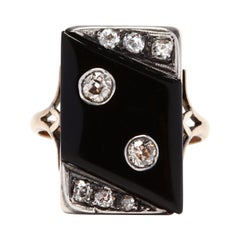 Antique 18 Karat Gold Diamond and Black Onyx Ring