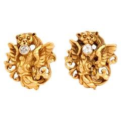 Antique 18 Karat Gold Diamond Lion and Winged Cufflinks