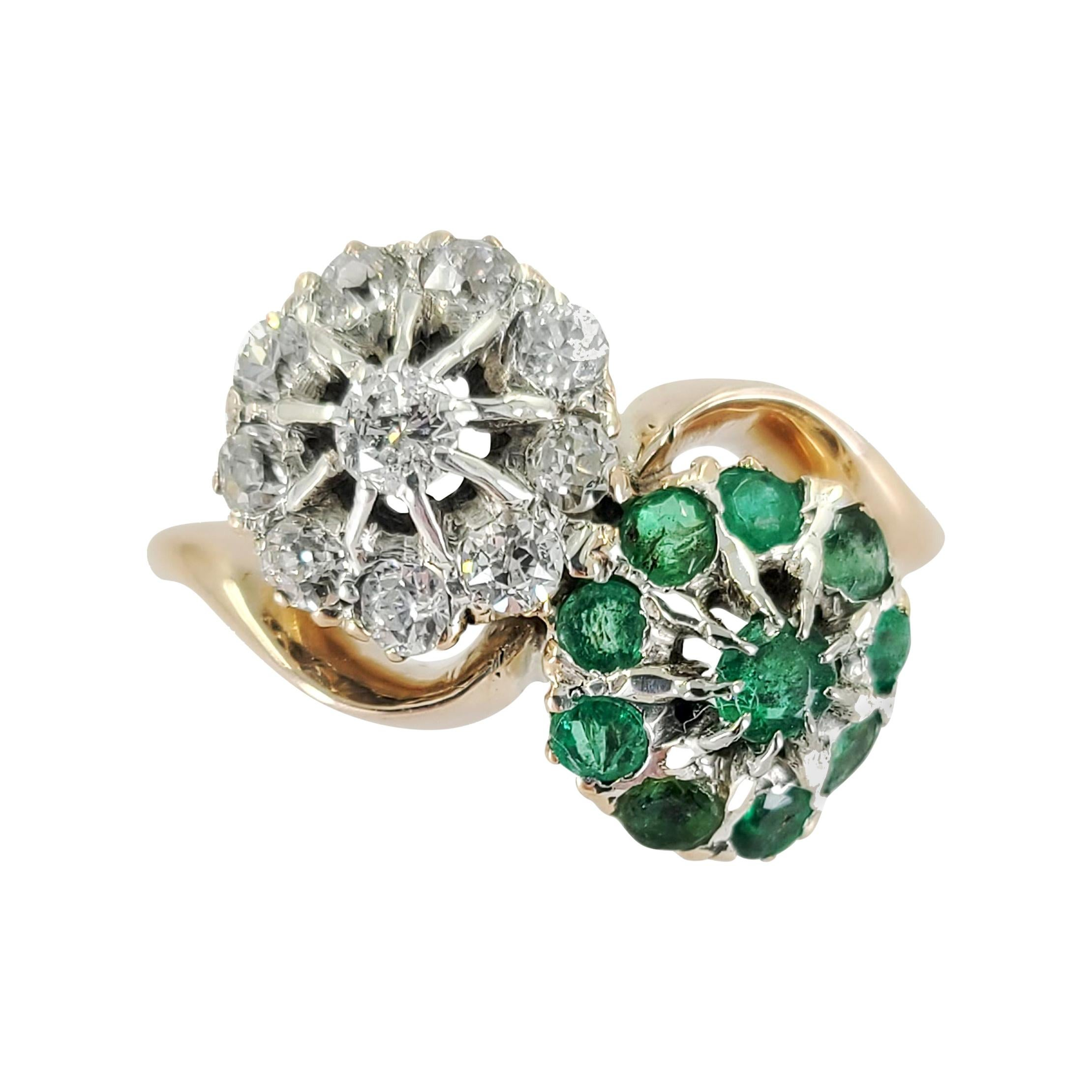 Antique 18 Karat Gold Emerald & Diamond Cluster Ring