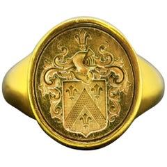 Antique 18 Karat Gold French Seal Ring, circa 1780