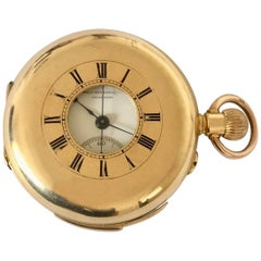 Antique 18 Karat Gold Minute Repeater Chronograph Half Hunter Pocket Watch