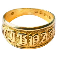 Antique 18 Karat Gold Mizpah ring, Hallmarked London, 1893