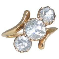 Antique 18 Karat Gold Ring with Large Dutch Rose Cut Diamonds, circa 1880
