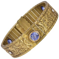 Antique 18 Karat Gold, Sapphire and Diamond Cuff Bangle, Early 20th Century