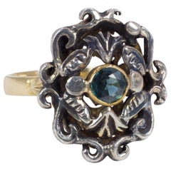 Antique 18 Karat Gold, Silver and Topaz Ring, 1940s