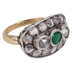 Antique 18 Karat Gold, Silver, Diamond and Emerald Oval Cluster Ring, Early 1900