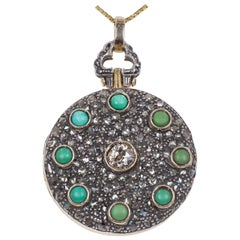 Antique 18 Karat Gold, Silver, Diamond and Turquoise Locket, 1940s