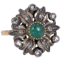 Antique 18 Karat Gold, Silver, Rose Cut Diamond and Green Stone Ring, 1940s