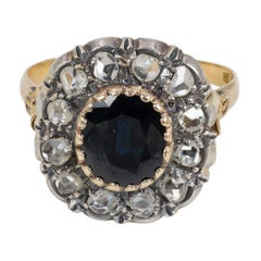 Antique 18 Karat Gold, Silver, Sapphire and Diamond Cluster Ring, Early 1900