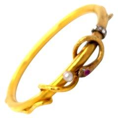 Antique 18 Karat Gold Snake Bangle Bracelet