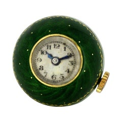 Antique 18 Karat Gold Swiss Pocket Watch with Enamel, 1950s