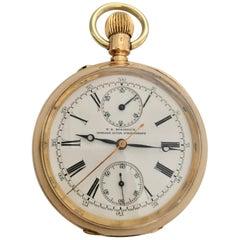 Antique 18 Karat Gold T. R. Russel's Keyless Lever Chronograph Pocket Watch