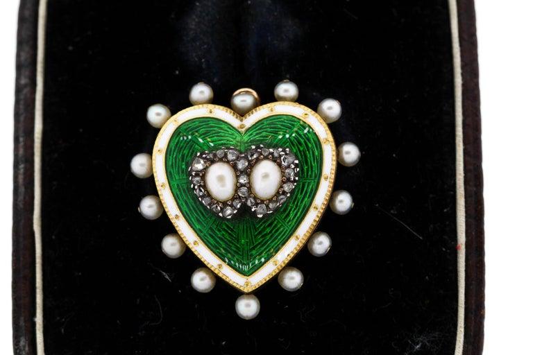 High Victorian Antique 18 Karat Green and White Enamel Pearl Diamond Heart Pin Pendant For Sale